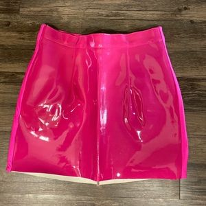 Pink Patent Leather Skirt by American Apparel